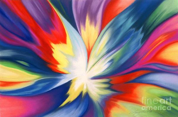 Abstract Art Print featuring the painting Burst Of Joy by Lucy Arnold