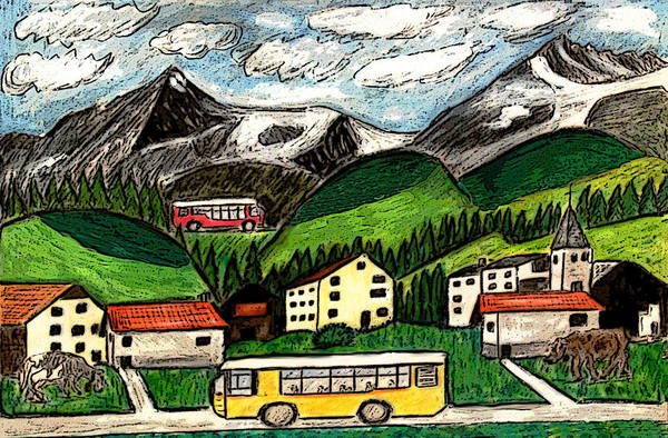 Switzerland Art Drawing Mixed Media Travel Landscape Tour Places Europe Houses Mountains Cows Art Print featuring the painting Bus Travel by Monica Engeler