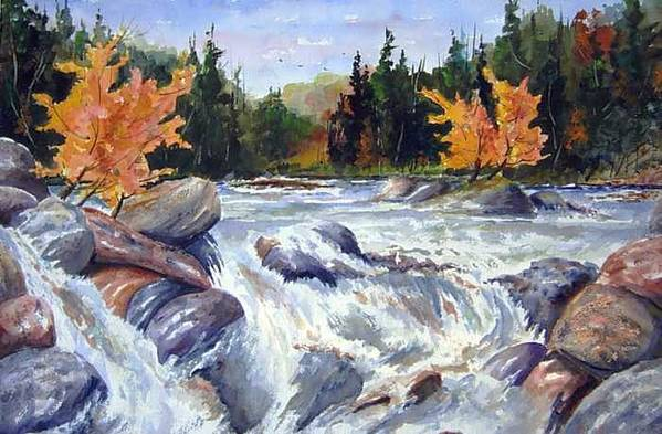 Fast Water Shoots The Rapids At Buttermilk Falls - Olfd Logging Chute - Ontario Art Print featuring the painting Buttermilk Falls by Wilfred McOstrich