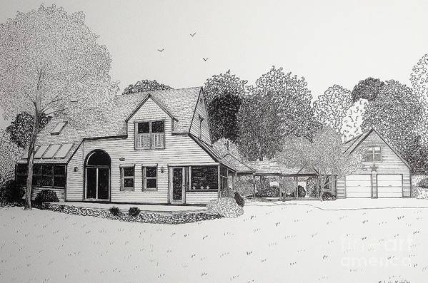 Architectural Drawing Art Print featuring the drawing C And P's House by Michelle Welles