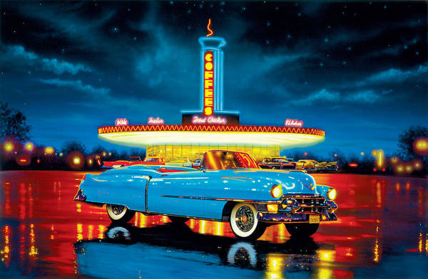 Car Print featuring the photograph Cadillac Diner by MGL Studio - Chris Hiett
