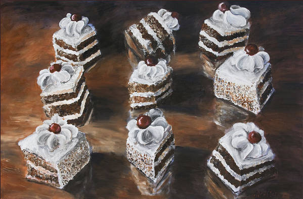 Cake Art Print featuring the painting Cake by Nik Helbig