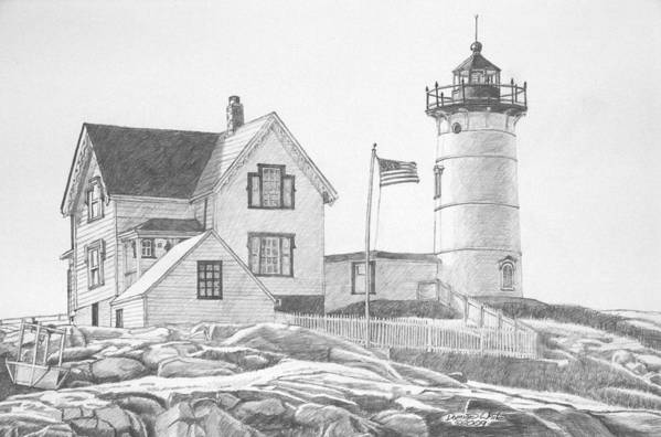 Lighthouse Art Print featuring the drawing Cape Neddick Light House Drawing by Dominic White