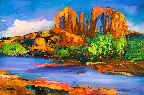 Sedona Print featuring the painting Cathedral Rock Afternoon by Elise Palmigiani