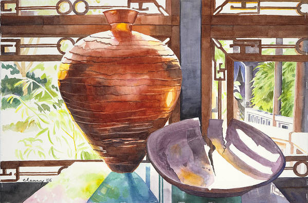 Still Life Art Print featuring the painting Celestial Hall Pottery I by Melody Cleary