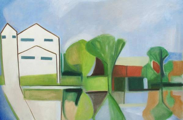 Landscape Art Print featuring the painting Cement Company On The Hackensack by Ron Erickson