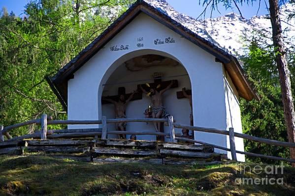 Chapel Art Print featuring the photograph Chapel Of Rietz Calvary Tyrol Austria by Elzbieta Fazel