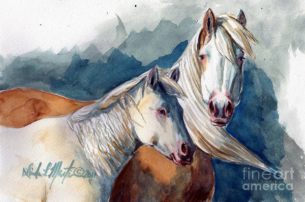 Sand Wash Basin Art Print featuring the painting Cheyenne And Tripod by Linda L Martin