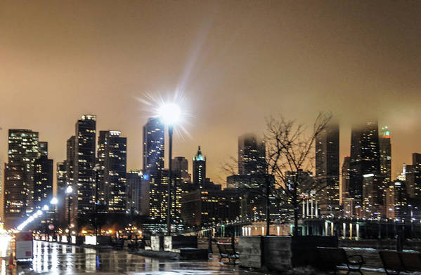 Chicago Art Print featuring the photograph Chicago City At Night by Art Spectrum
