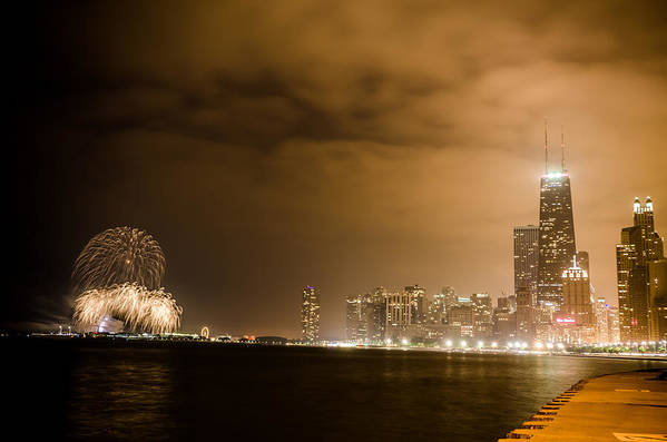 4th Print featuring the photograph Chicago Skyline Fireworks Finale by Anthony Doudt
