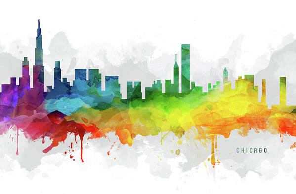 Chicago Art Print featuring the digital art Chicago Skyline Mmr-usilch05 by Aged Pixel