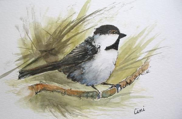 Bird Art Print featuring the painting Chickadee by Lisa Cini