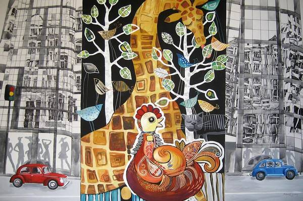 Architecture Art Print featuring the painting City Jungle by Yelena Revis