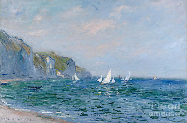 Cliffs And Sailboats At Pourville (oil On Canvas) Impressionism; Impressionist; Seascape; Sea; Ocean; Boat; Sailing; Sail; Yacht; Cliff; Monet Art Print featuring the painting Cliffs And Sailboats At Pourville by Claude Monet