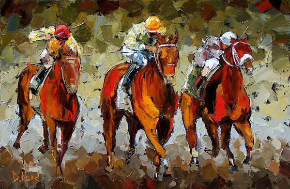 Horses Art Print featuring the painting Close Race by Debra Hurd