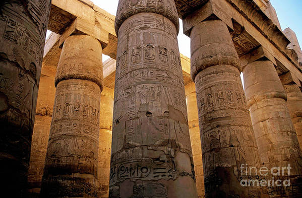 Africa Art Print featuring the photograph Colonnade In The Karnak Temple Complex At Luxor by Sami Sarkis