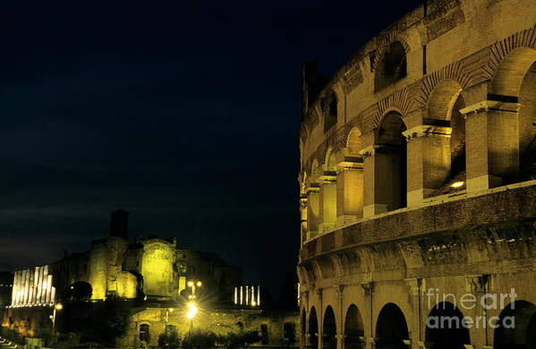 Ancient Art Print featuring the photograph Colosseum Illuminated At Night And The Forums by Sami Sarkis