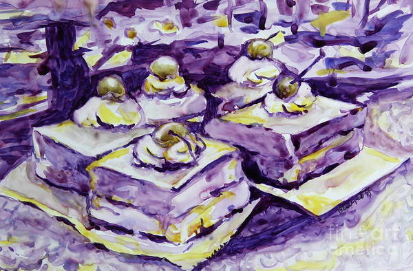 Expressionist Still Life Art Print featuring the painting Complimentary Brownies by Jan Bennicoff