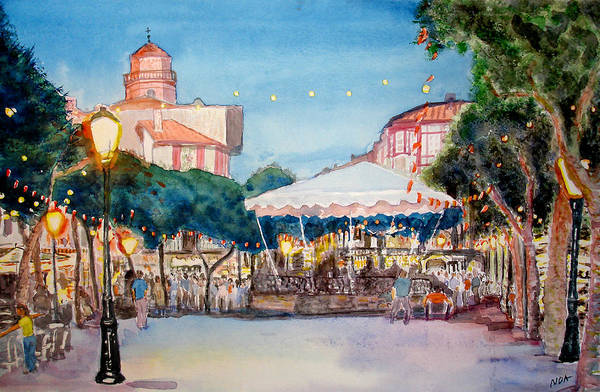 Cityscape Art Print featuring the painting Concert To St Jean-de-luz by Aymeric NOA