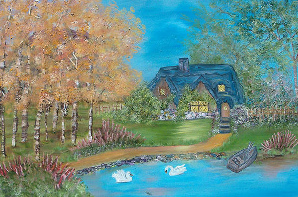 Cottage Art Print featuring the painting Country Cottage by Mikki Alhart
