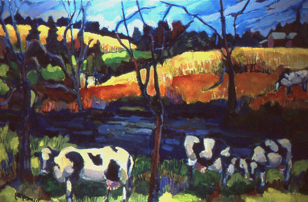 Landscape Art Print featuring the painting Cows In Landscape by Doris Lane Grey