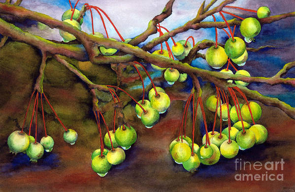 Crabapples Art Print featuring the painting Crabapple Dew by Winona Steunenberg