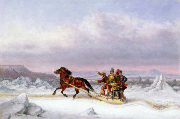 Crossing Art Print featuring the painting Crossing The Saint Lawrence From Levis To Quebec On A Sleigh by Cornelius Krieghoff
