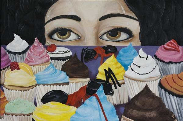 Cupcakes Art Print featuring the painting Cupcake Envy by Victoria Dietz