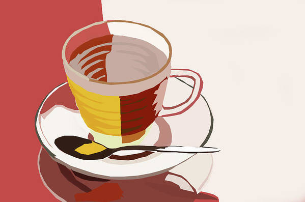 Tea Art Print featuring the digital art Cuppa by Tanya Mutton