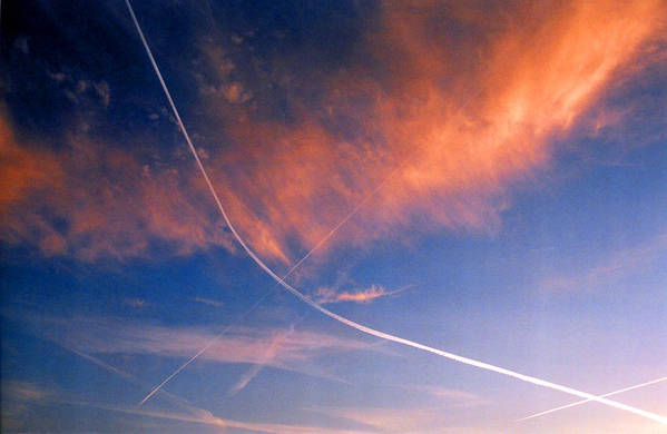 Contrails Art Print featuring the photograph Cutting The Sky 3 by Lyle Crump