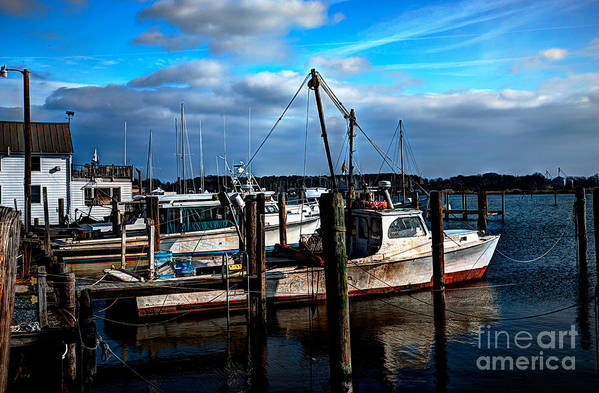Hdr Process Art Print featuring the photograph Days End At The Dock by Eric Geschwindner