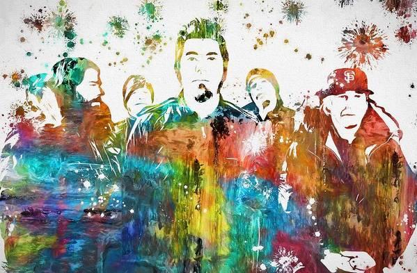 d95de805b Deftones Paint Splatter Art Print featuring the painting Deftones Paint  Splatter by Dan Sproul