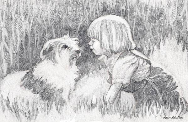 Pencil Art Print featuring the drawing Dog Whisperer by Liisa McInnis