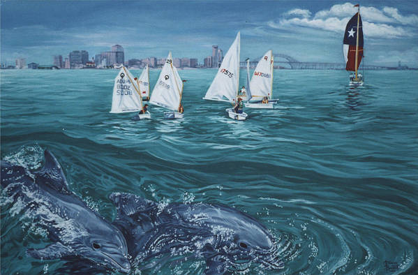 Dolphins Art Print featuring the painting Dolphins In Corpus Christi Bay by Diann Baggett