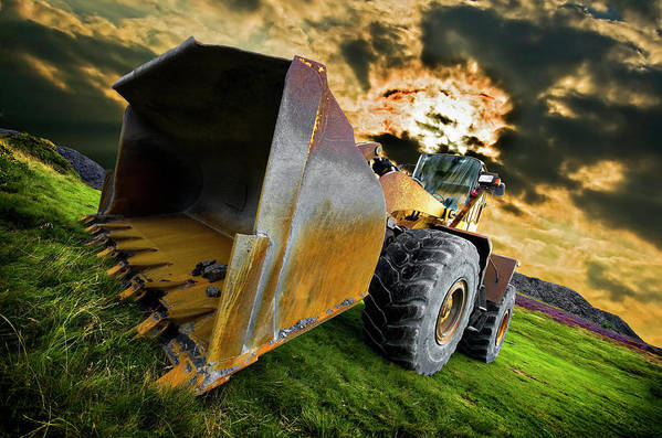 Wheel Loader Print featuring the photograph Dramatic Loader by Meirion Matthias