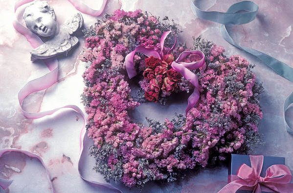 Heart Art Print featuring the photograph Dried Flower Heart Wreath by Garry Gay
