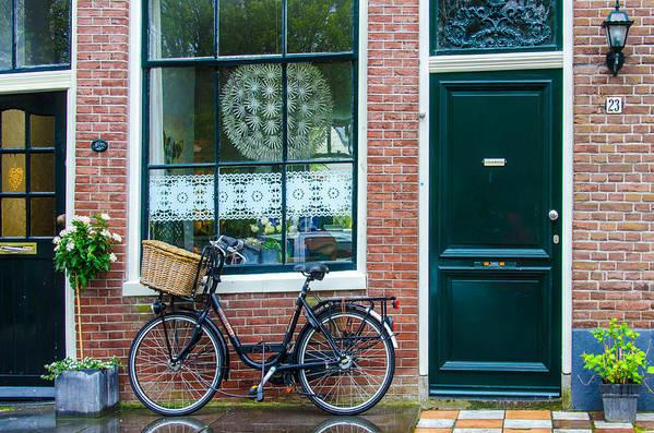 Netherlands Hoorn Biycle Door Window Art Print featuring the photograph Dutch House Facade by Christine Czernin Morzin