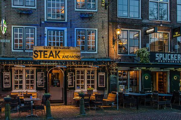 Netherland Hoorn Evening Dusk Steakhouse Art Print featuring the photograph Dutch Steak by Christine Czernin Morzin