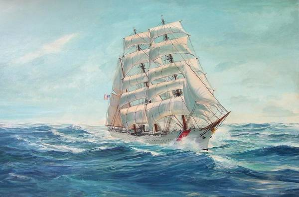 Coast Guard Training Ship - Eagle Newport Art Print featuring the painting Sailing Eagle by Perrys Fine Art