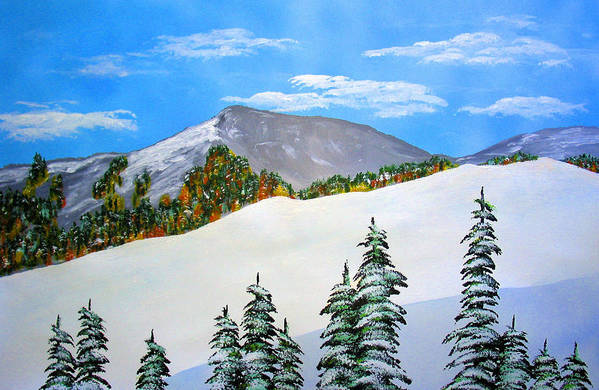 Snow Sierra Mountains Ridgeline Early Trees Fall Nature Art Print featuring the painting Early Sierra Snow At Ridgeline by Ed Moore