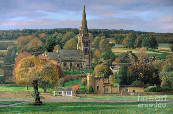 Peak District; Pig; Countryside; English Landscape; Architecture; Church; Village; Estate; Landscape; Chatsworth; Edensor; Chatsworth Park; Tree; Trees; Man Sitting On Bench Art Print featuring the painting Edensor - Chatsworth Park - Derbyshire by Trevor Neal