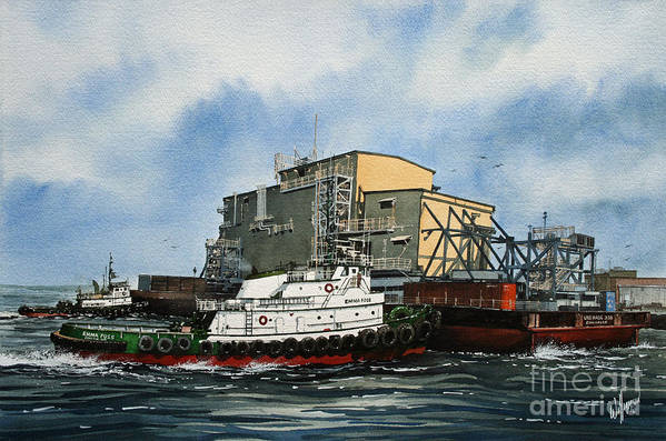 Tugs Art Print featuring the painting Emma Foss Barge Assist by James Williamson