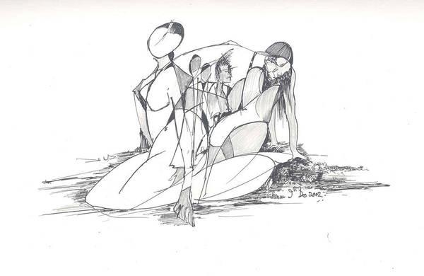 Women Art Print featuring the drawing Entangled Women by Padamvir Singh