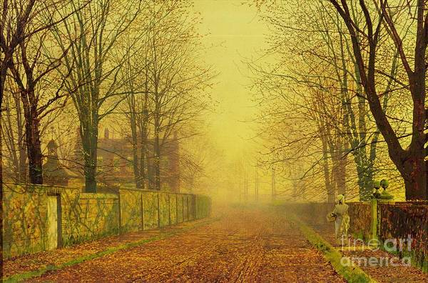 The Fall Print featuring the painting Evening Glow by John Atkinson Grimshaw
