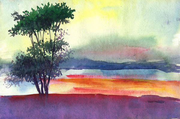 Water Color Art Print featuring the painting Evening Lights by Anil Nene