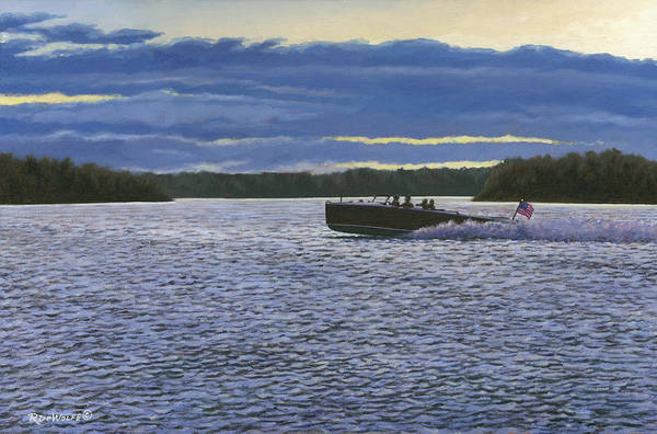 1000 Islands Art Print featuring the painting Evening Run by Richard De Wolfe