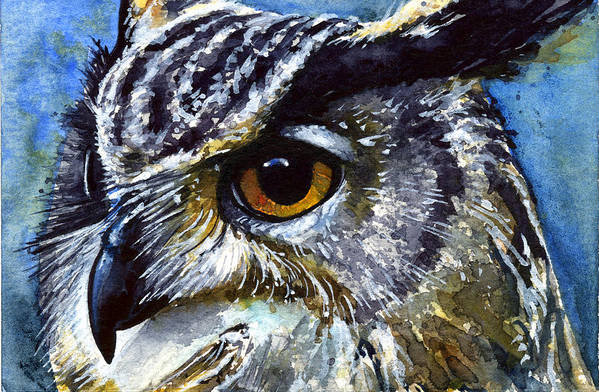 Owls Art Print featuring the painting Eyes Of Owls No.25 by John D Benson