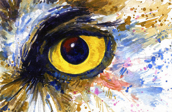 Owls Art Print featuring the painting Eyes Of Owl's No.6 by John D Benson