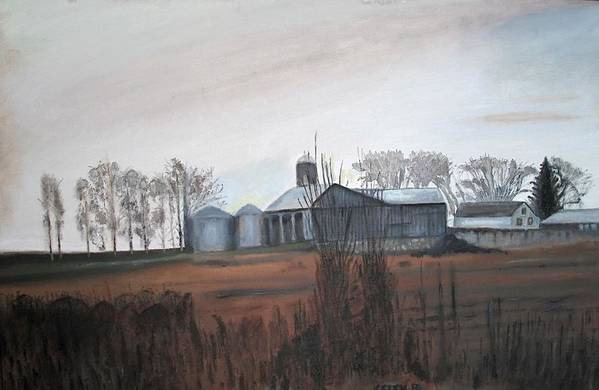 Farm Art Print featuring the painting Farm In The Fall by Keith Bagg