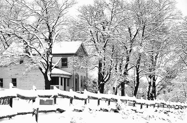 Blizzard Art Print featuring the photograph Farmhouse In Winter by Roger Soule